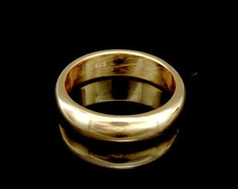 Sil-BRG-006/3 Handmade 1 plain half round shank 24K gold vermeil over sterling silver 5.0mm. band rings