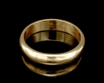 Sil-BRG-006/4 Handmade 1 plain half round shank 24K gold vermeil over sterling silver 4.0mm. band rings