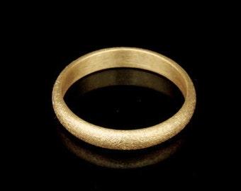 Sil-BRG-009/5 Handmade 1 sandblast half round shank 24K gold vermeil over sterling silver 3.0mm. band rings