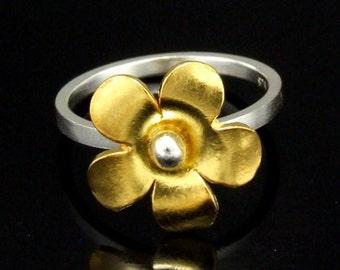 Sil-RG-002 Handmade 1 flower 24K gold vermeil on sterling silver stacking rings