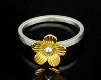 Sil-RG-005 Handmade 1 flower 24K gold vermeil on sterling silver stacking rings