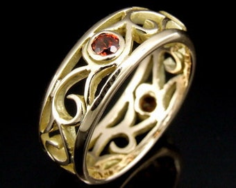 9CTRK-007 Solid 9ct 9k gold filigree red garnet band ring
