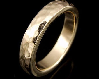 9CTRK-006 Solid 9ct 9k gold hammered band ring