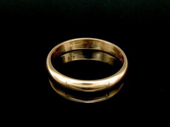 Sil-BRG-006/5 Handmade 1 plain half round shank 24K gold vermeil over sterling silver 3.0mm. band rings