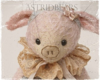 Pattern pig Miss Babe 7.75 inch by ASTRIDBEARS epattern digital Instant Download stuffed animals