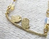 Gold Love Birds on Branch Necklace with Moonstone