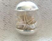 Mermaid Jewelry, Starfish Necklace, Pearl Mermaid Necklace, Glass Globe Necklace