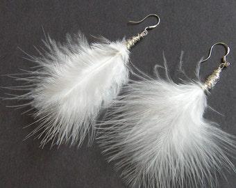 White Marabou Feather Earrings