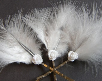 Feather Bobby Pins, Marabou Feathers, Hair Pins Wedding