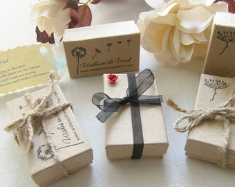 WishesontheWind Dandelion Stamped Kraft Gift Box Packaging With Poem