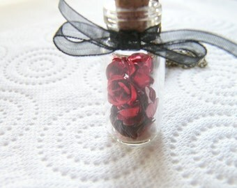 Red Roses and Hearts Glass Vial Necklace, Bottle Necklace