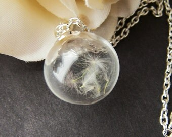 Dandelion Seed Necklace, Handblown Glass, Nature Necklace, Wish Necklace, Real Dandelion, Handmade by Wishes on the Wind, Christmas Gift