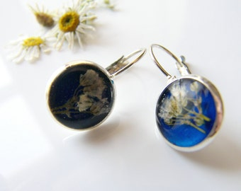 Pressed Flower Earrings, Blue Resin, Dainty Earrings, Eco Friendly, Eco Chic
