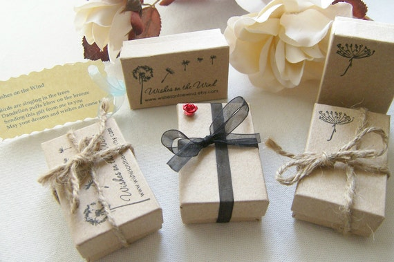 WishesontheWind Dandelion Stamped Kraft Gift Box Packaging With Poem