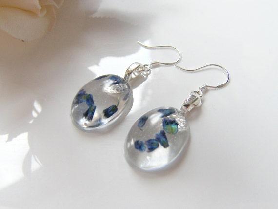 Real Lavender Earrings, Resin Earrings, Pressed Flower, Nature, Eco Friendly