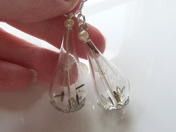 Dandelion Earrings, Make a Wish, Teardrop Earrings, Dandelion Jewelry, Bridesmaids Jewelry, Gifts for Women
