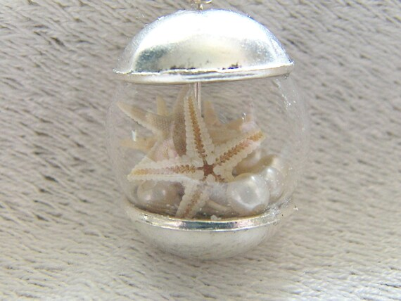 Mermaid Jewelry, Starfish Necklace, Pearl Mermaid Necklace, Glass Globe Necklace