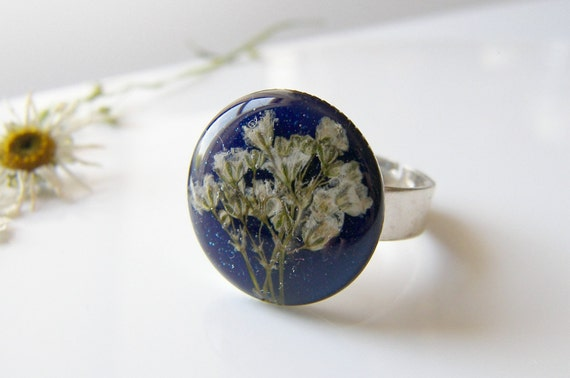 Blue Resin Ring, Pressed Flower Blue Ring, Gift for Women, Botanical Ring, Pressed Flower Jewelry
