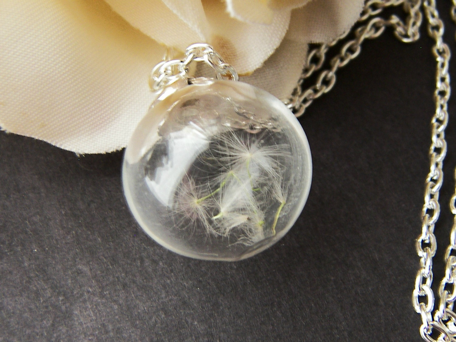 dandelion seed necklace handblown glass nature necklace