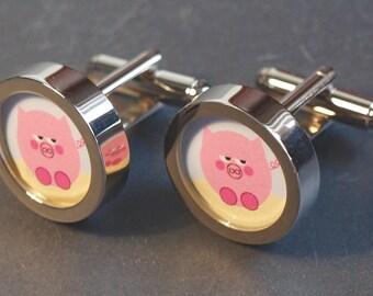 This Little Piggy Cuff Links Cartoon Cufflinks