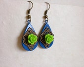 Vintage Inspired Blue Enamelled Drop Earrings With Lime Green Rose And Antiqued Bronze Filigree Detail