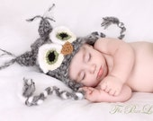 Newborn Owl Hat - Baby Owl Hat, Gray Fuzzy Owl Hat, Crochet Owl Hat, Newborn Photo Prop