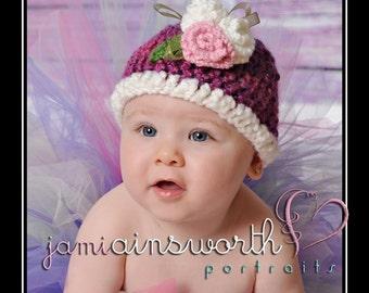 Newborn Baby Girl Crochet Beanie Hat 0-3 months Photo Prop