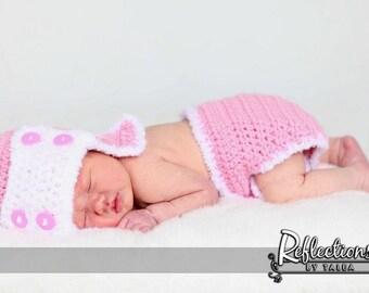 Amelia Aviator Hat and Diaper Cover Set Newborn Baby Girl Crochet PHOTO PROP