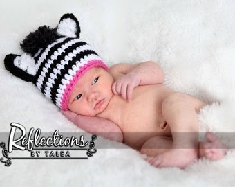 Newborn Hat, Newborn Zebra Hat, Baby Zebra Hat, Newborn Photo Prop, Newborn Girl Hat, Crochet Hat, Hats for Infants, Hospital Hat