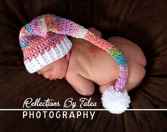 Longtail Elf Stocking Hat Newborn Baby Crochet PHOTO PROP