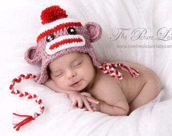 Girl Sock Monkey  Hat, Newborn Sock Monkey Hat, Baby Girl Sock Monkey, Baby Unique Photo Prop