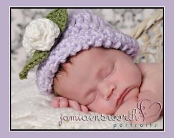 Crochet Newborn Girl Hat, Baby Girl Hat, Baby Hat with Roses, Crochet Baby Photo Prop 0-3 months