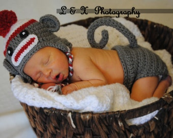 Newborn Sock Monkey  Hat  and Diaper Cover Set,  Baby Crochet Unique Photo Prop