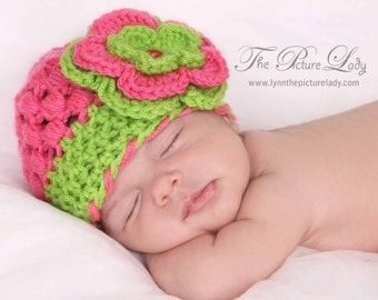 Baby Girl Hat, Newborn Hat, Crochet Baby Hats, Hat with Flower, Newborn Photo Prop, Newborn Girl Hat, Pink and Lime Hat, Baby Beanie