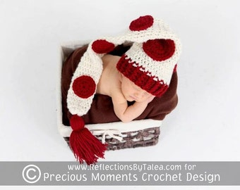 Polka Dots Longtail Elf Stocking Hat Newborn Baby Crochet PHOTO PROP