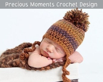 Baby Fall Hat, Newborn Fall Hat, Newborn Photo Prop, Baby prop, Pom Pom Hat, Rust, Brown, Newborn Hat, Crochet Hat, Thanksgiving Hat, Boy