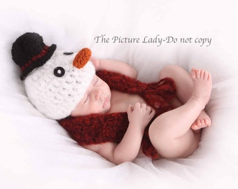 Snowman hat and Scarf - Newborn Photo Prop, Crochet Snowman Hat, Baby Snowman Hat and Scarf, Holiday Photo Prop, Christmas Set