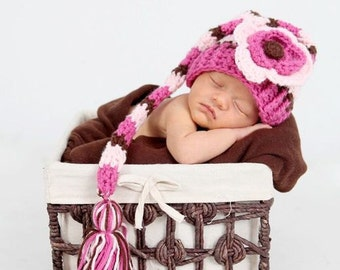 Newborn Hat Photo Prop, Baby Girl Elf Hat, Newborn Elf Hat, Baby Girl Elf Hat with Flower, Baby Crochet PHOTO PROP