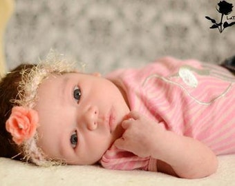 Crochet Headband with Pink Rose Flower  Headband PHOTO PROP