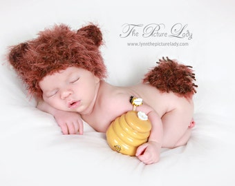 Baby Bear Hat, Fuzzy Wuzzy Newborn Bear Hat and Fluffy Tail Baby Crochet Photo Prop