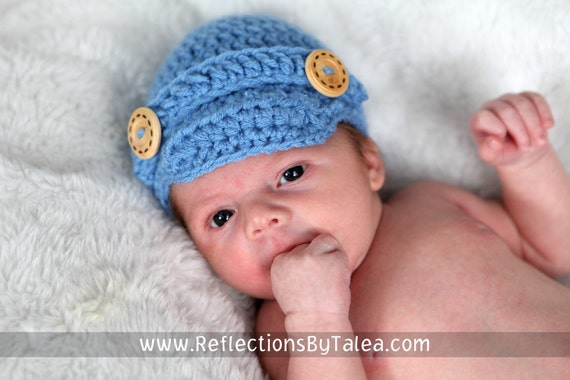 Newborn Newsboy Hat, Newborn Visor Hat, Baby Visor Hat, Select Color and Size, Crochet Cap, Baby Cap, Newborn Photo Prop