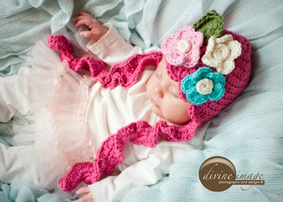 Newborn Girl Hat, Pink Hat with Flowers, Baby Girl Hat, Ruffle Hat, Spring Hat, Newborn Photo Prop, Crochet Baby Hat, Hot Pink Hat