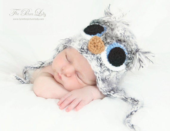 Newborn Owl Hat, Fuzzy OWL Hat, Baby Owl Hat, Baby Bird Hat, Crochet Hat for Baby, Newborn Baby Crocheted Unique Photo Prop