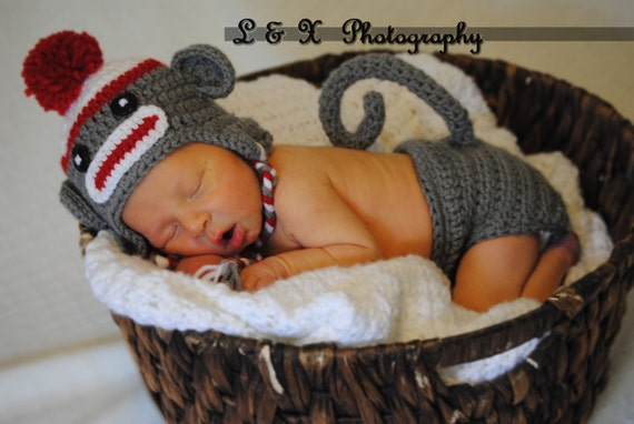 3-6 months SET Sock Monkey  Hat  and Diaper Cover Baby Crochet Unique Photo Prop