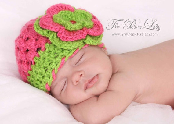 Spring Girl Hat, Crochet Girl Hat, Newborn Girl Hat, Pink Hat with Flower, Newborn Photo Prop, Baby Girl Hat, Girl Beanie, Flower Beanie