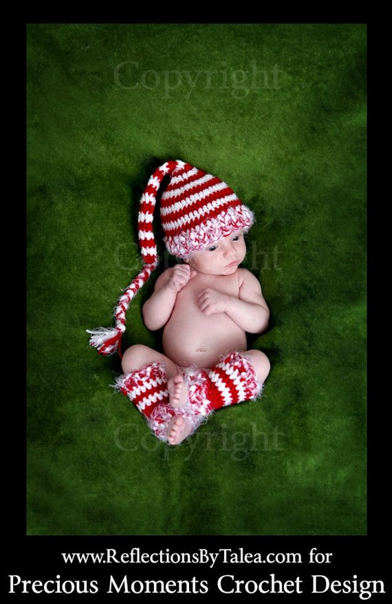 Candy Cane Elf Stocking Hat and Legwarmers Christmas Newborn Baby Crochet PHOTO PROP