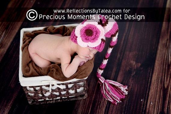 Newborn Elf Hat, Baby Girl Elf Hat, Baby Longtail Elf Hat, Baby Stocking Hat, Elf Hat with Flower, Newborn Baby Crochet PHOTO PROP