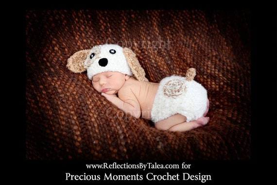 Newborn  Puppy Hat and Diaper Cover set, Baby Puppy Hat and Diaper, Crochet Puppy Hat, Newborn Crochet PHOTO PROP