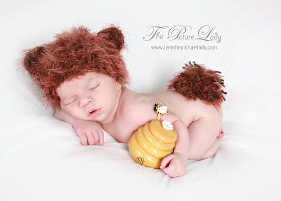 Baby Bear Hat, Fuzzy Wuzzy Newborn Bear Hat and Fluffy Tail Baby Crochet Photo Prop