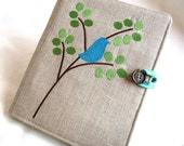 Sweet and Modern Embroidered Bluebird on a Branch Padded eReader Cover (All Models Available) - TrevTravDesigns
